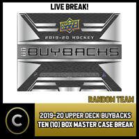 2019-20 UPPER DECK BUYBACKS HOCKEY 10 BOX CASE BREAK #H612 - RANDOM TEAMS