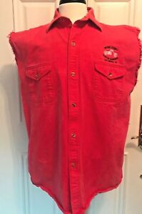 Mens XL Sleeveless Motorcycle Biker Shirt Red Sevier County Custom Choppers LCI
