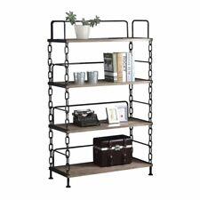 Bowery Hill 4 Shelf Bookcase in Rustic Oak and Antique Black