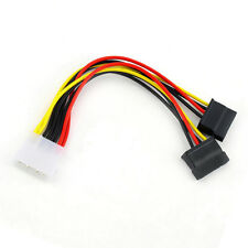 Molex to 2 SATA Dual Power Y Splitter Adapter Cable Lead 2 Way 4Pin - 15Pin New