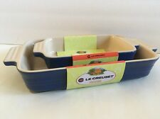 Cobalt Blue Le Creuset Stoneware Bakeware Set~Rectangular Baking Dishes New
