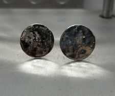 hand made, round shape #2 20mm Sterling Silver, Cufflinks, Reticuladed silver,