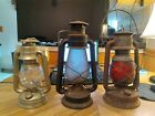 3 Antique  DIETZ Barn TALL BELL BOTTOM LANTERN With  Globes Antiques