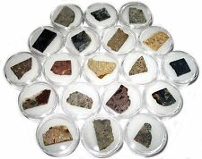 Meteorite impact crater impactite melt breccia micromount collection 19 types