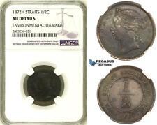 R732, Straits Settlements, Victoria, 1/2 Cent 1872-H, Heaton, NGC AU Det.