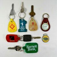 LOT of 8 Vintage Key Ring Key Chain FOB's Barnett Bank Honda Ford etc