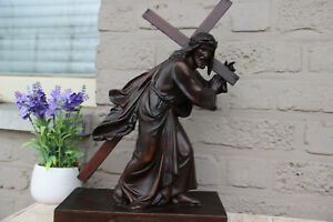 Antique French spelter bronze marble base Jesus christ cross statue marked