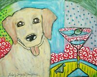 Labrador Retriever Art Print, Yellow Lab Gifts 4 x 6 Martini Break Artist KSams