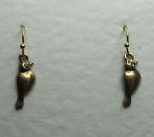 SMALL BIRD DROP EARRINGS GLASS CRYSTAL GREEN EYES GOLD PLATED HOOK EARWIRE