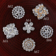 20PCS Vintage Handmade Flower Rhinestone Buttons Bling Flatback Crystal Pearl