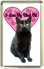 I Love My Black Cat Fridge Magnet,