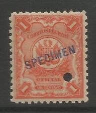 """STAMPS-PERU. 1909 1c Vermilion, Overprinted """"SPECIMEN"""" SG: O382 var. Mint Hinged"""