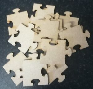 25x Jigsaw Puzzle Pieces Laser Cut MDF Wooden Craft Blank Embellishment shapes