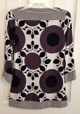 Cocomo Womens Black and White Geometric/Floral Tunic Top/Shirt/Blouse Size Small