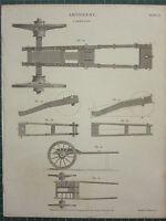 1808 Datierter Antik Aufdruck ~ Artillerie Kutsche Plan Sektionen Verschiedene