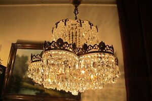 Antique Vintage French Daisy style swarovski Crystal Chandelier Lamp Light  RARE