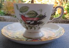 Royal Tuscan Crossbill Cup & Saucer Set Audubon Bird Mint!