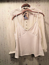Hope by Kristian Alfonso Silk Ruffle Trim Top with Knit  Camisole IVORY Medium