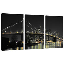 Set of 3 Panel New York Canvas Wall Art Pictures Bridges Cities 3075