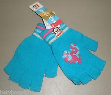 Paul Frank Julius Monkey Pink Turquoise Blue Fingerless Winter Gloves Girls 4-16