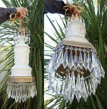 1o2 DRESDEN Bisque Porcelain Bronze Brass Swag Cherub lamp PARIAN vintage crysta