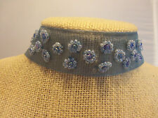 """12"""" plus 3"""" Chain Extender Lt Blue Ribbon Choker Necklace with Seed Bead Design"""
