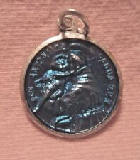 St Anthony/St Francis Medal French w/ Latin Inscription Aluminum and Resin Blue