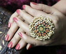Handcrafted Indian Bollywood Style Cocktail Adjustable Kundan Golden Party Rings