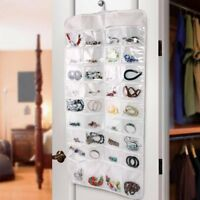 72 Clear Pocket Double Sided Jewellery Organiser Hanging Storage Bag Case Holder