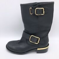 Vince Camuto Womens Riding Boots Black Leather Block Heel Mid Calf Zip 6 M New
