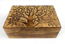 Tree Decorative Wooden Jewelry Box 9x6 Tree of Life Wood Hinged Lid Trinket Box
