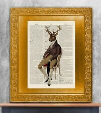 Old Antique Book page Art Print - Dashing Stag Vintage Dictionary Page Wall Art