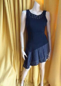 (AUG210) Size 10 *KAREN MILLEN* Smart grey wool jersey dress ladies/women