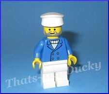 Lego minifig Man / Male CAPTAIN  w Blue Jacket SAILOR / BOATER Town Minifigure