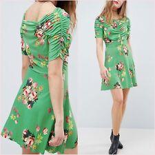 SALE Green Multi Floral Short Sleeve Mini Skater Tea Dress UK 14 US 10 ❤