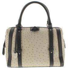 London Fog 0718 Womens Ivory Textured Leather Doctors Handbag Purse Medium BHFO
