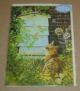 Lovely SECRET GARDEN Cat Blank Greeting Card