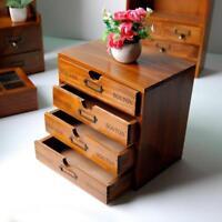 Jewelry Storage Box Retro Case Organizer Holder Container Wooden Jewellery Tray