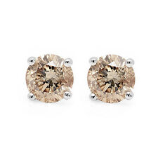 Special Offer..!! 0.70Ct Champagne Round Diamond Stud Earring in 18k White Gold