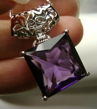 Pendant Necklace (Made to Order) Square Cut *Amethyst* Sterling Silver Filigree