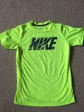 Pre-owned Nike Dri Fit Boys Neon Green Big Nike logo- M
