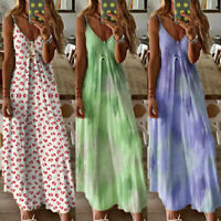 Womens Tie Dye Summer Cami Dress Ladies Holiday Beach Long Maxi Dress Plus Size