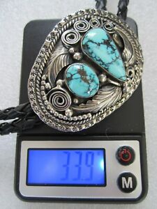 VTG SOUTHWEST NATIVE AMERICAN NAVAJO STERLING NATURAL MORENCI TURQUOISE BOLO TIE