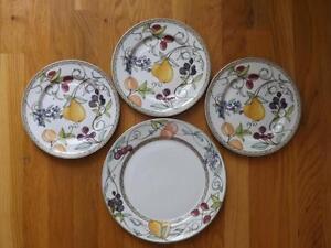"""3 Dansk Umbrian Fruit Salad Plates 8 3/4"""" + 1 Dinner Plate"""