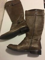 Enzo Angiolini Easaylem Taupe Leather Knee High Boots Harness Riding 10