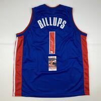 Autographed/Signed CHAUNCEY BILLUPS Detroit Blue Basketball Jersey JSA COA Auto
