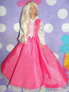 Mattel Pretty Platinum Blonde Barbie Doll Pink Princess Gown