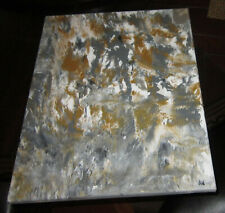 Vintage abstract oil on canvas painting of a horse race, signed