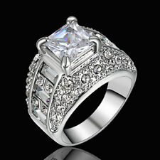 Size 9 Rhodium White Gold Plated Wedding Engagement Ring Anniversary Propose