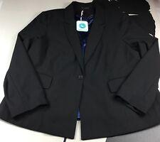 New Elvi Womens Black BlazerJacket One Button Career Stretch Lining Size 20